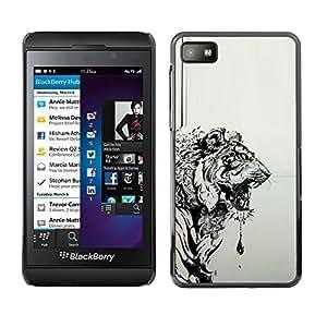 "For Blackberry Z10 Case , Tigre Gris Negro Dibujo Pintura Arte"" - Diseño Patrón Teléfono Caso Cubierta Case Bumper Duro Protección Case Cover Funda"