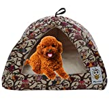 Nunubee Owl Canvas Puppy Bed Pet Bed Triangle Pet Dog Cat Bed Dog Animal Beds Kennel Pet Nest Cat Pad Bed Yellow