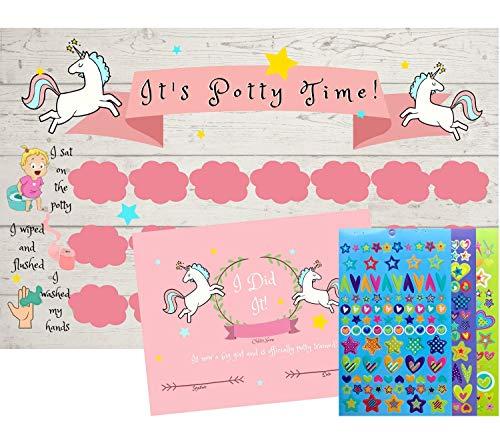 Potty Training Chart – Reward Sticker Charts with 300 Stickers and Certificate- Unicorn Theme – 5 Large 11 x 17 Size