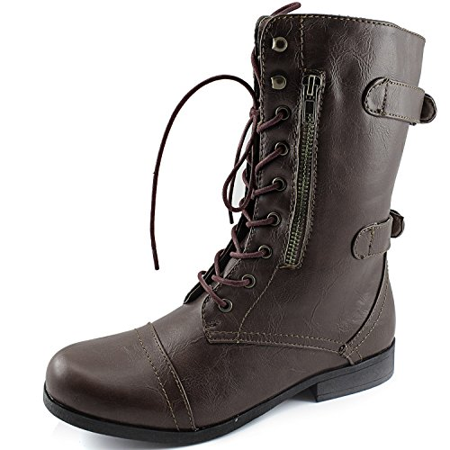 Laces Boots Boots Brown Combat Women's Brown Zipper 10 Dark Evan Ankle Dailyshoes Strap Military HHq4SO8