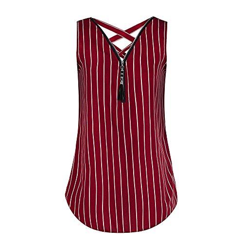 71e10a5edce Silk Camisole Women Loose Sleeveless Tank Top Cross Back Hem Layed Zipper  V-Neck Striped