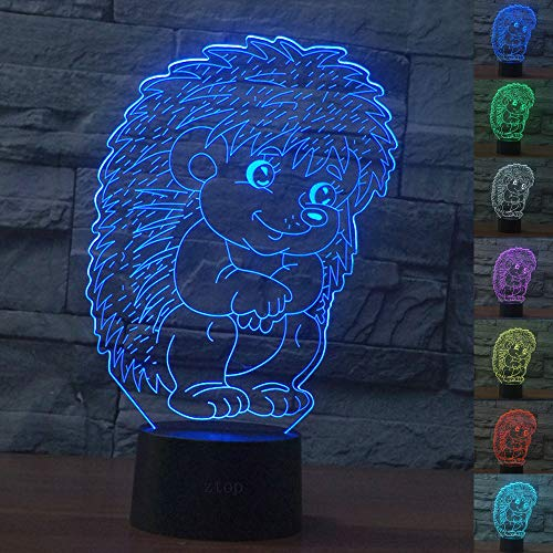 Abstractive 3D Hedgehog Optical Illusion Night Light 7 Color Change Touch Switch USB Powered LED Halloween Decoration Desk Lamp for Holiday Birthday Gift]()