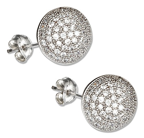 Sterling Silver Half Round Button Micro Pave Cubic Zirconia Earrings