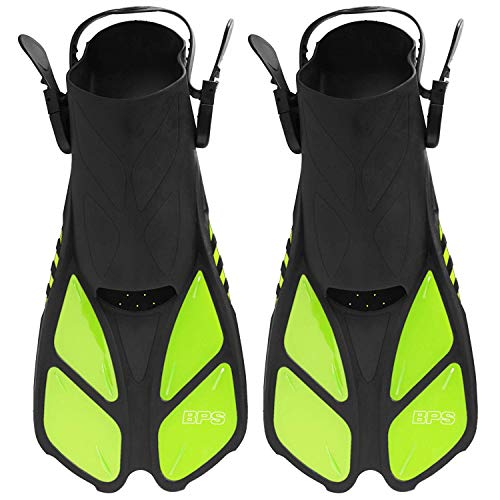 BPS Short-Blade Adjustable Swim Flippers - Durable for Swimming, Diving, Snorkeling and Other Water Activity. Comfort on Land and sea - Open-Toe and Heel Designed Snorkel FINS (Yellow Green, S, -