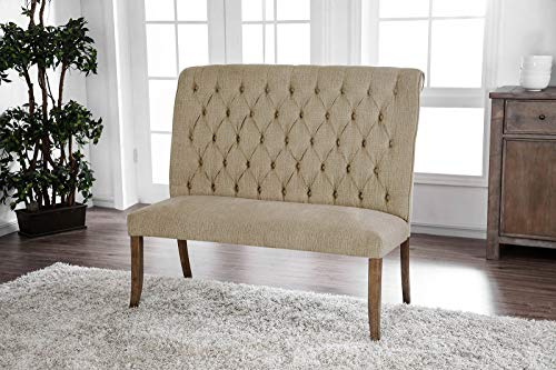 - Benzara Chenille Fabric Counter Height Bench with Tufted Back, Rustic Oak Brown and Beige
