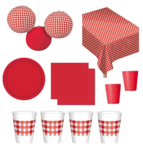 FAKKOS Design Red Gingham Picnic Party Camping RV Accessories Flannel Backed Vinyl Tablecover Hanging Lanterns Plates Napkins and Cups