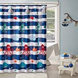 Blue Fish Shower Curtain Sealife Kids Shower Curtain, Printed Animal Shower Curtains for Bathroom, 72 X 72, Navy