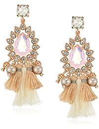Womens Tassel Pearl Drop Earrings, Rose Gold Tone, One Size