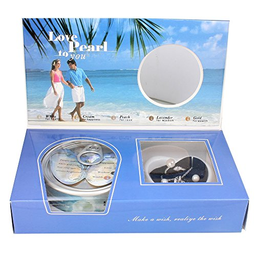 Love Wish Freshwater Pearl Oyster Kit - Harvest Your Own Pearl - Great Gift by Kiss Me (Finger Ring, Earrings, Necklace, Freshwater Pearl with Shell) (Blue Box)