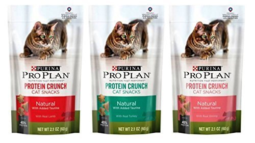 Purina Pro Plan True Nature Protein Crunch Treats For Cats 3 Flavor Variety Bundle: (1) Protein Crunch Lamb, (1) Protein Crunch Shrimp, and (1) Protein Crunch Turkey, 2.1 Oz. Ea. (3 Bags)