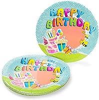 UMOI Set de Fiesta desechable para cumpleaños – 30 Platos de cartón, 30 Vasos de cartón y 60 servilletas para el cumpleaños Ideal. 120 Unidades en ...