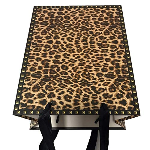 12PCS Cheetah Print Paper Bags with Tissue Paper(Medium)]()