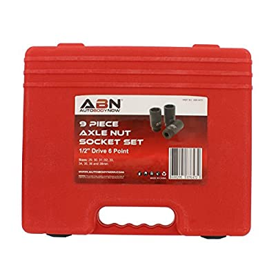 ABN 1/2in Drive 6 Point Spindle Thin Wall Axle Nut Socket 9-Piece Metric Set – 6pt Install, Removal, Repair