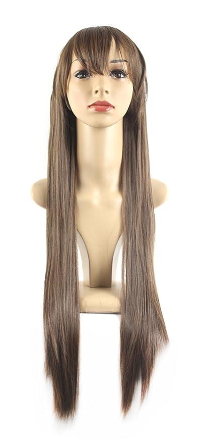 Xiaoyu largo pelo recto cosplay traje de fiesta de Halloween pelucas - de lino marrón