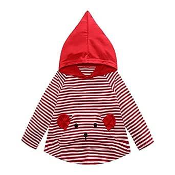 Yannerr Bebé niño niña dibujos rayas camiseta tops sudadera ...