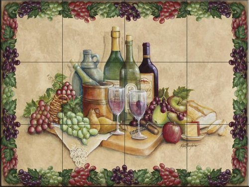 Ceramic Art Mural Accent Tile - Ceramic Tile Mural - Wine Time with Border- by Rita Broughton - Kitchen backsplash/Bathroom shower