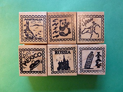 Country/Passport Rubber Stamp Frames, Set of 6, for Teachers