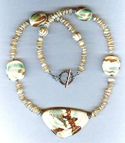- Stunning Ivory and Copper Kazuri Beads with Freshwater Keishi Pearls One of a Kind Necklace