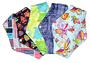Supreme Comfort Reusable Cloth Sanitary Napkins Menstrual Panty Pads With Premium Bamboo And Charcoal Absorbency - Pack of 5