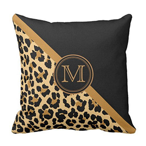 Emvency Throw Pillow Cover Stylish Leopard Print Custom Monogram Decorative Pillow Case Animal Home Decor Square 20 x 20 Inch Cushion Pillowcase (Leopard Decorative Pillows Print)