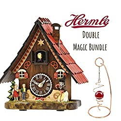 Qwirly 2-Item Magic Bundle: HERMLE Hansel & Gretel Tabletop Quartz Cuckoo Clock #65000 Mini Desktop Optical Illusion Spinner - Holiday, Birthday, New Baby and Collector Gift Set
