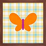 """Plaid Butterfly I by Linda Woods - 28"""" x 28"""" Framed Giclee Canvas Art Print Walnut Finish - Ready to Hang"""