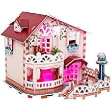 Holiday Bungalow Dollhouse LED Light Collectible Fun Educational 3D Assembly Puzzle Model Toy 114 pieces
