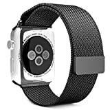 Apple Watch Band, UMTele Milanese Loop Stainless Steel Bracelet Smart Watch Strap with Unique Magnet Lock, No Buckle Needed for iWatch Apple Watch Band 38mm Black