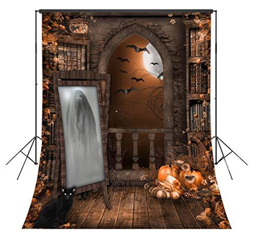 LB 5x7ft Halloween Photography Backdrop Woman Ghost Black Cat Autumn Pumpkins Photo Background Studio Prop Customized WSJ1618