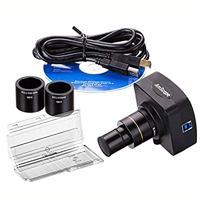 AmScope MU1003-CK 10MP Live Video USB3.0 Digital Microscope Camera 10 MP + Calibration Kit