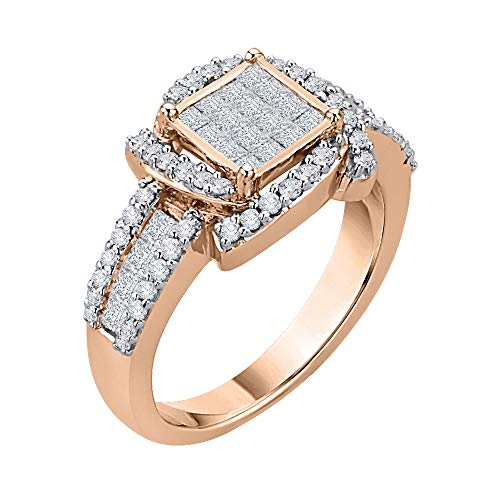(KATARINA Princess Cut Diamond Center Cluster Channel Set With Round Side Stone Fashion Ring In 14K Rose Gold (7/8 cttw, G-H, I2-I3) (Size-5.75))