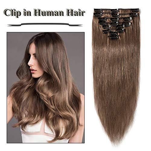 Clip in Hair Extensions Light Brown 14-24 inch Remy Human Hair for Women 8pcs 18 Clips Full Head Soft Straight Hair(22