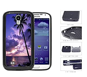 Beach Sunset Scenery With Palm Tree Silhouette 2-Piece Dual Layer High Impact Rubber Silicone Cell Phone Case Samsung Galaxy S4 SIV I9500