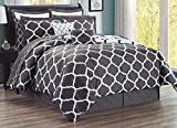 Designer King Size Beds 12-Piece Oversize Lattice Quatrefoil Designer Comforter Set King Size Bed In A Bag with Sheets, Euro Shams and Decorative Pillows (Dark Grey, White)