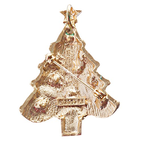 ACCESSORIESFOREVER Christmas Jewelry Crystal Rhinestone Lovable Holiday Tree Brooch Pin BH140 Multi by Accessoriesforever (Image #1)