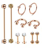 Jstyle 10Pcs Stainless Steel Industrial Barbell Cartilage Stud Earrings Hoop For Women Men Nose Lip Piercing Rings Tragus Helix Ear Body Piercing Jewelry