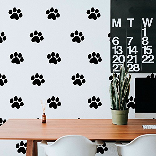 Set of 20 Vinyl Wall Art Decal - Little Puppy Paws Prints Pattern - 4.5