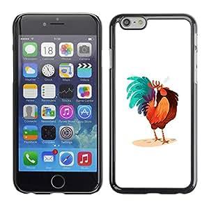 PC/Aluminum Funda Carcasa protectora para Apple Iphone 6 Rooster Colorful Art Blue Big Tail Drawing / JUSTGO PHONE PROTECTOR
