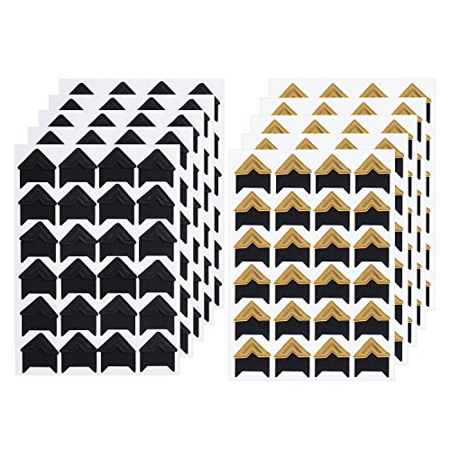 Sumind 10 Sheets Photo Corners Self Adhesive Photo Mounting Sticker Paper Corner Stickers for Scrapbooking Album Dairy, Black and Gold