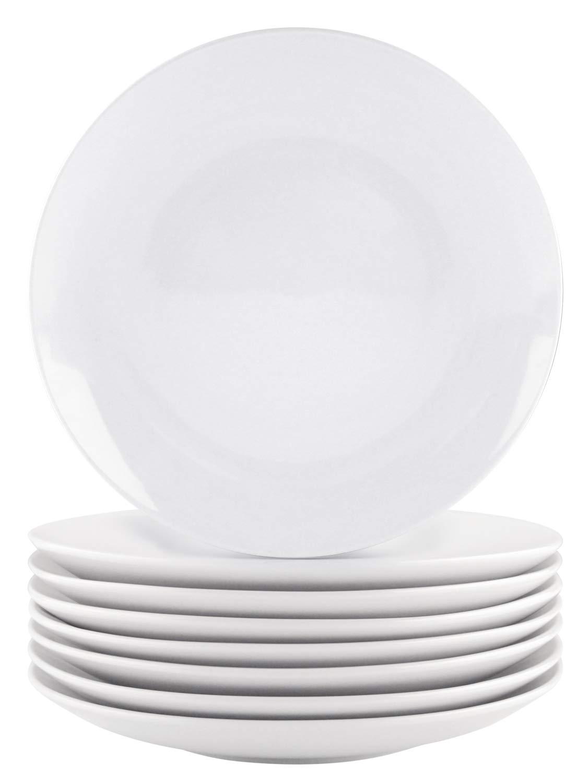 Bestone 8-Piece Dinner Plates Set White Porcelain,Dishwasher Microwave Oven Safe