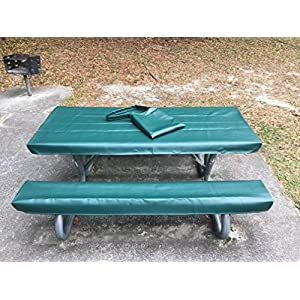 Table Glove Fitted Marine Grade Vinyl Picnic Table Cover Sets- Hand Made - Great For Camping or Full time RV Living (8ft, Emerald Green)