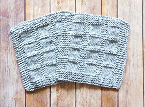 Hand Knit Light Gray Cotton Dishcloths, Set of Two
