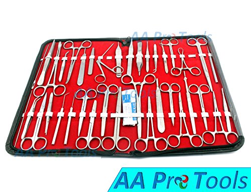 AA PRO 157 PCS Advanced Dissection Set for Anatomy & Biology Students with 1 Scissors ! Forceps ! HEMOSTAT-! Blades - CASE - LAB Veterinary Botany Stainless Steel Set for Frogs Animals A+ Quality