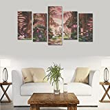 Contemporary Fashion Wall Art Fantasy fairytale art magic tree forest Canvas Print Home Wall Personal Decoration Room Wall Decor Oil Painting 5 Piece Oil Paintings Canvas (No Frame)