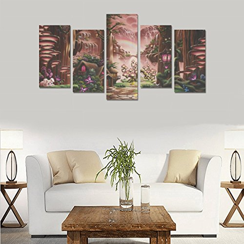 Contemporary Fashion Wall Art Fantasy fairytale art magic tree forest Canvas Print Home Wall Personal Decoration Room Wall Decor Oil Painting 5 Piece Oil Paintings Canvas (No Frame) by sentufuzhuang Canvas Printing