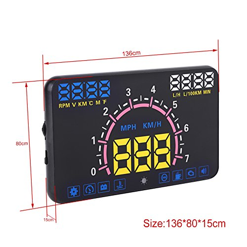 VGEBY Universal 5.8'' Car HUD Head Up Display With OBD2 EUOBD Interface Speeding Warning by VGEBY (Image #4)