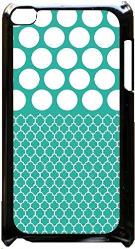 Robin Egg Blue Morrocan Lattice and Polka Dots Pattern Black plastic snap on case - for the Apple iPod iTouch 4th Generation.