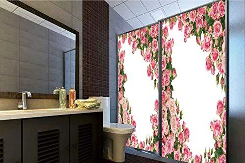 Frame Bush (Horrisophie dodo 3D Privacy Window Film No Glue,Roses Decorations,Romantic Rose Bushes Frame Bridal Marry Park Summer Occasions Decorative Image,70.86