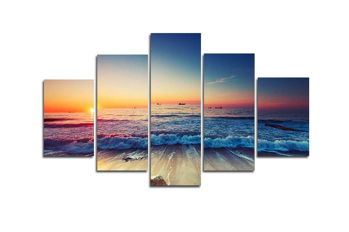 Blxecky DIY 5D Diamond Painting Cross Stitch Crafts Kit, 5 sets of splicing paintings. Home living room decoration. Sunset sea view by Blxecky
