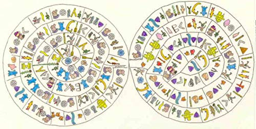 Pendentif Enigmatique Disque de Phaistos en Argent 925 et Plaqu/é Or 24 carats Frise ajour/ée PHA01